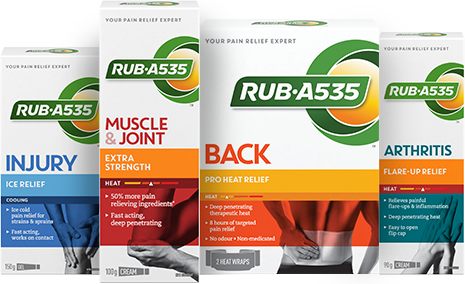 Relax with healing relief for strained muscles and sore joints, with RUB A535
